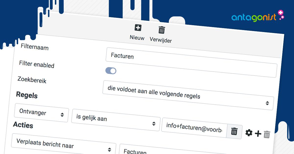Mailfilters en subadressen gebruiken in de webmail van Antagonist.