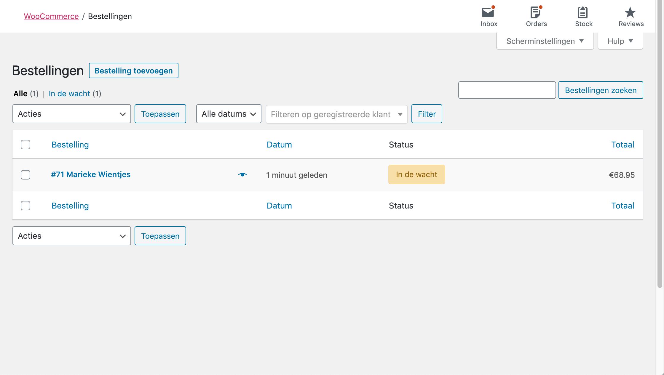 Overzicht van bestellingen in WooCommerce.
