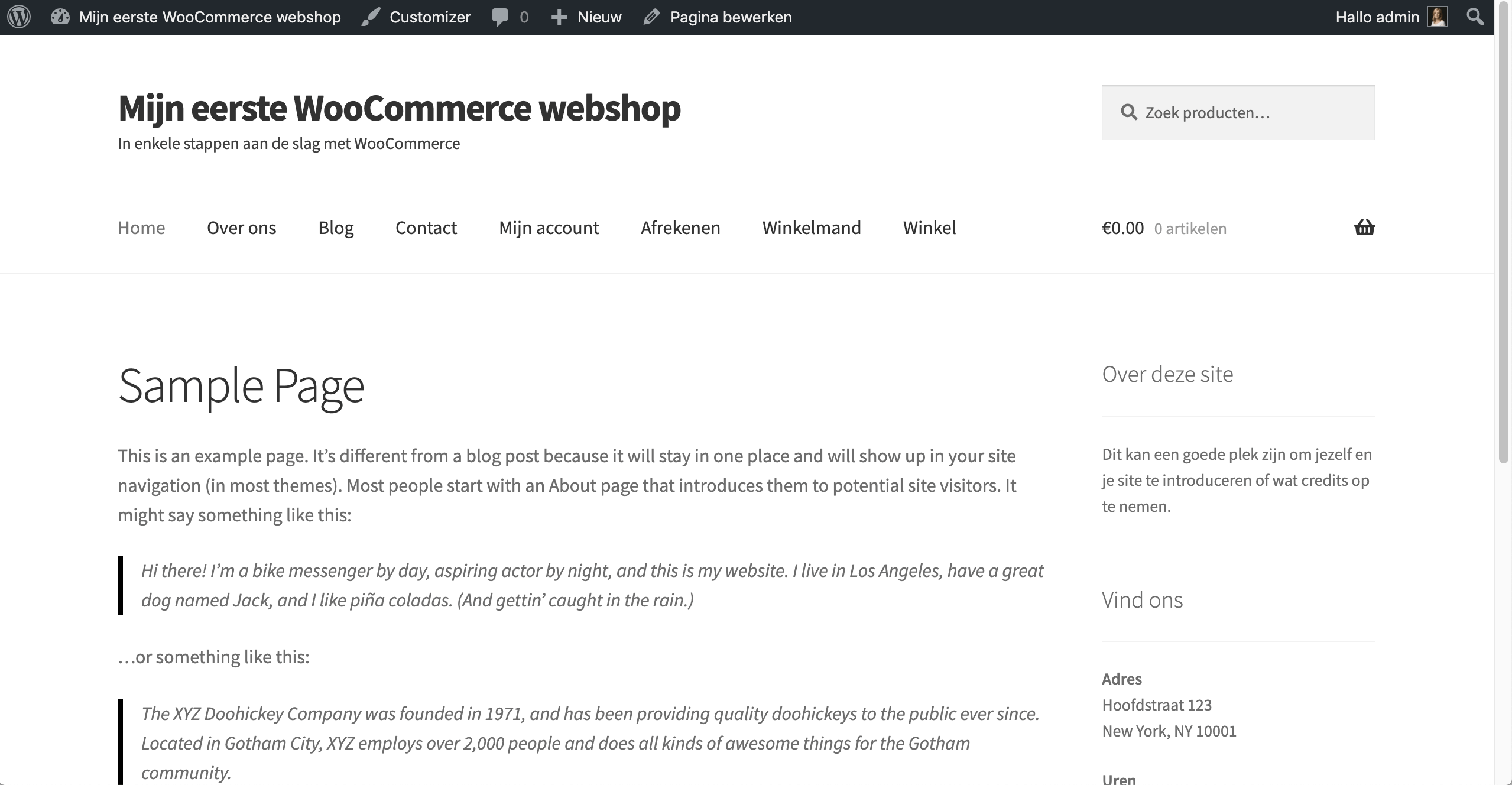 Voorbeeld van een WooCommerce-website.