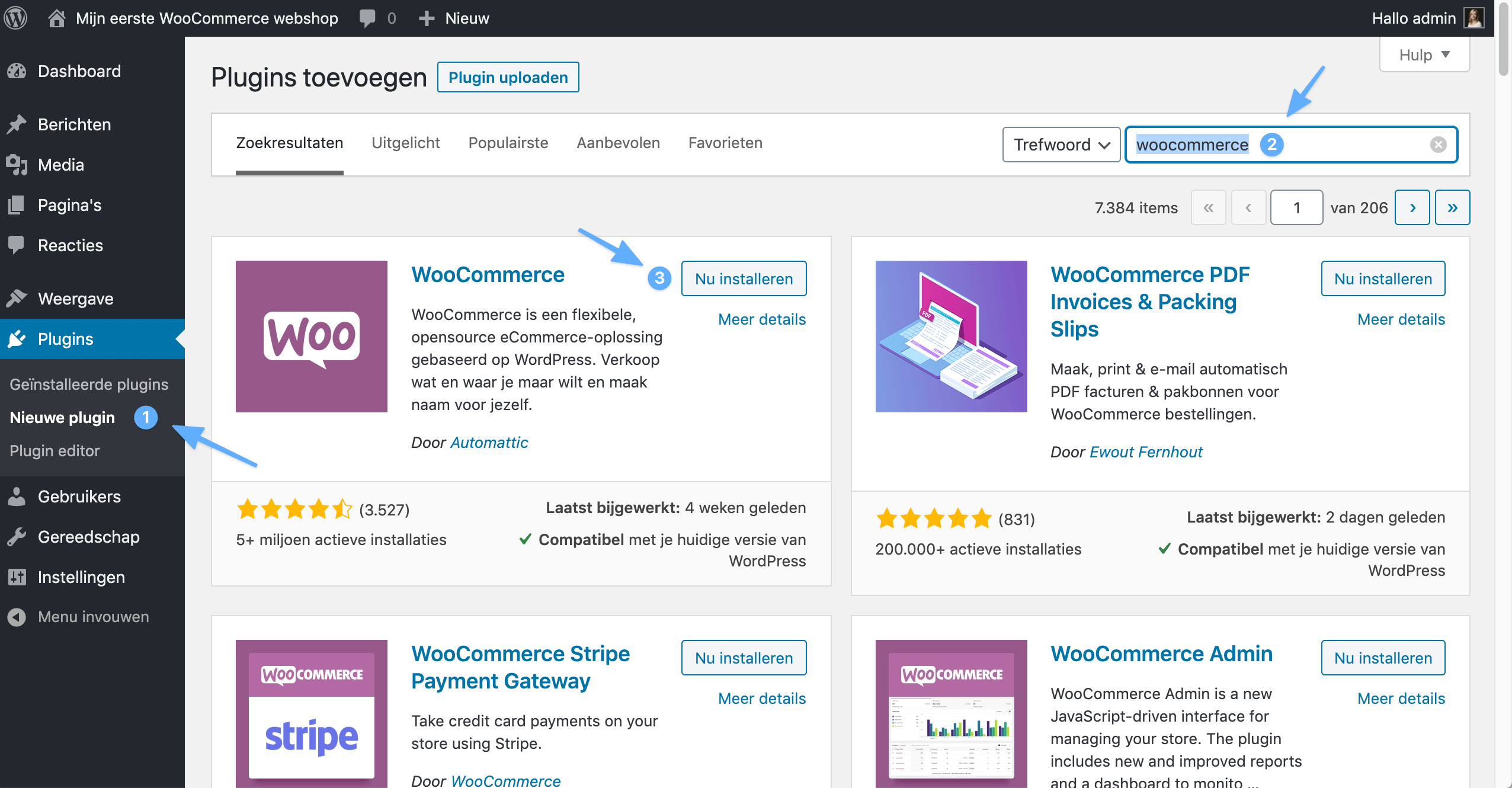 WooCommerce-plugin installeren in WordPress.