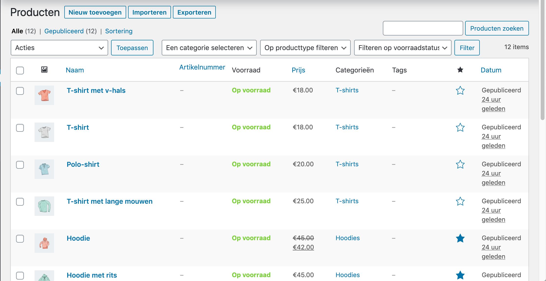 Het overzicht met producten in WooCommerce.