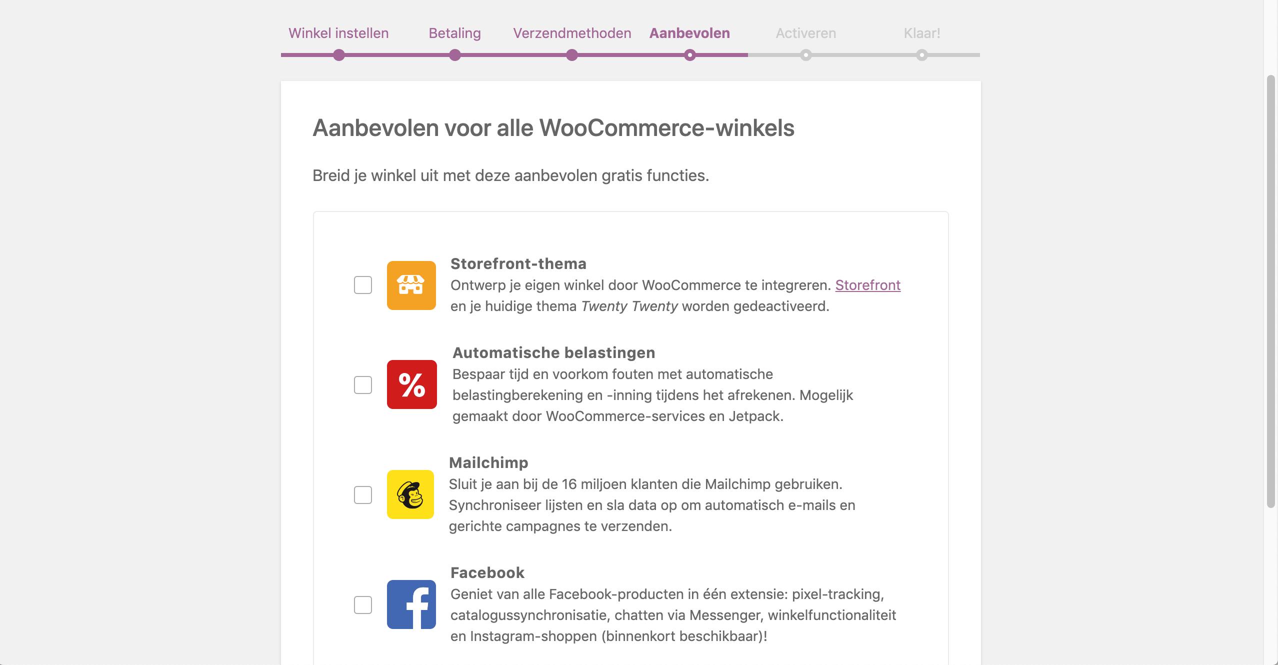 Het Storefront-thema kiezen in WooCommerce.