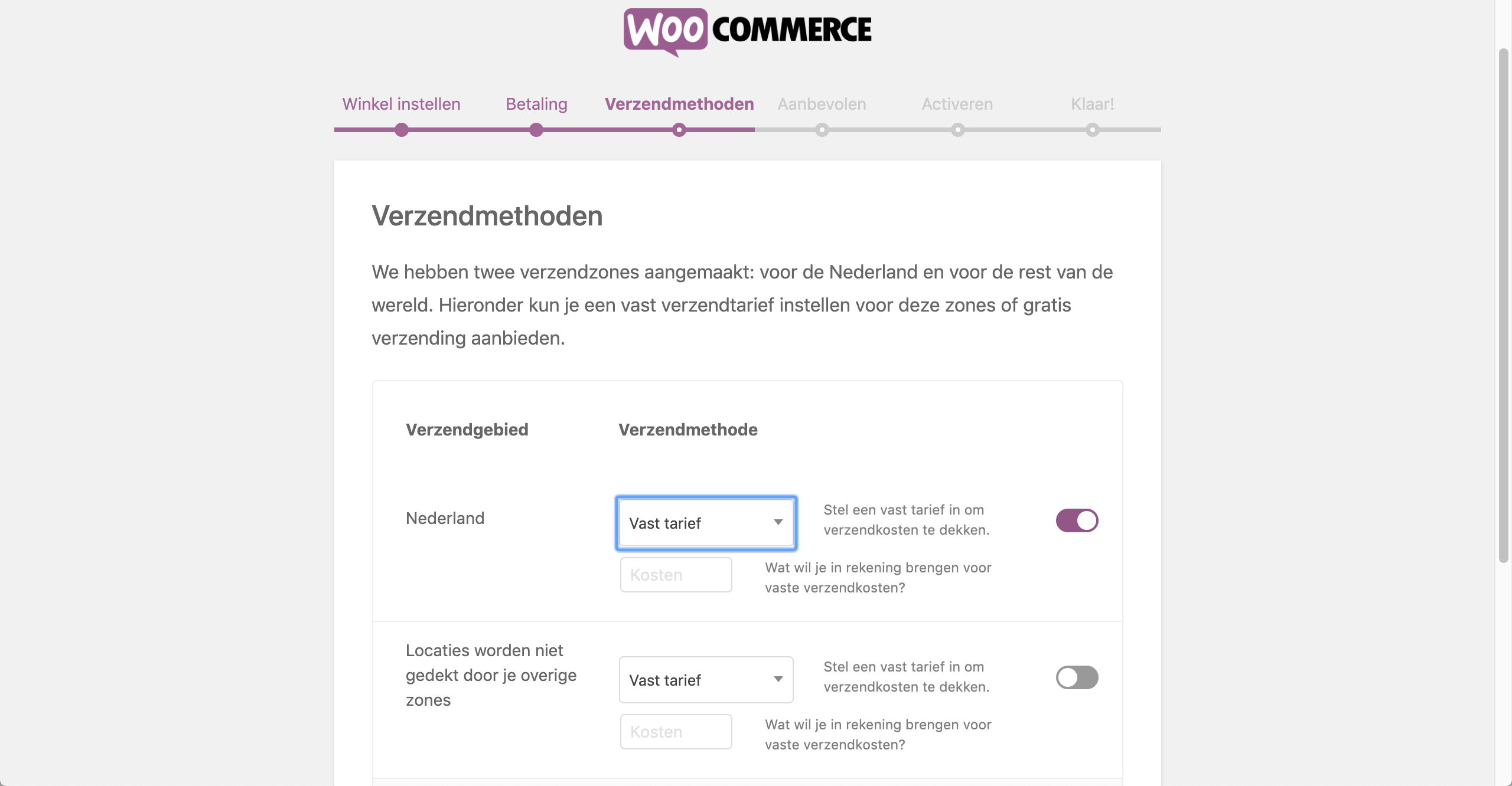Verzendmethoden in WooCommerce bepalen.