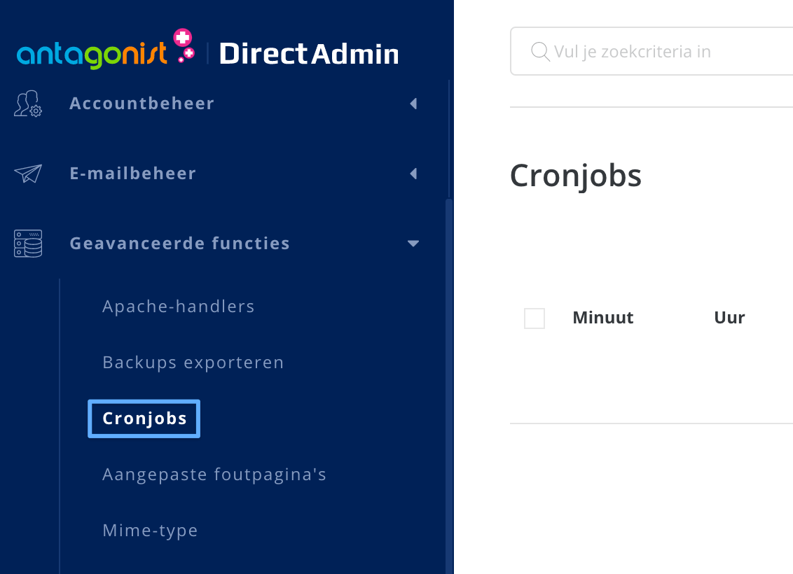 Cronjobs-optie in DirectAdmin.