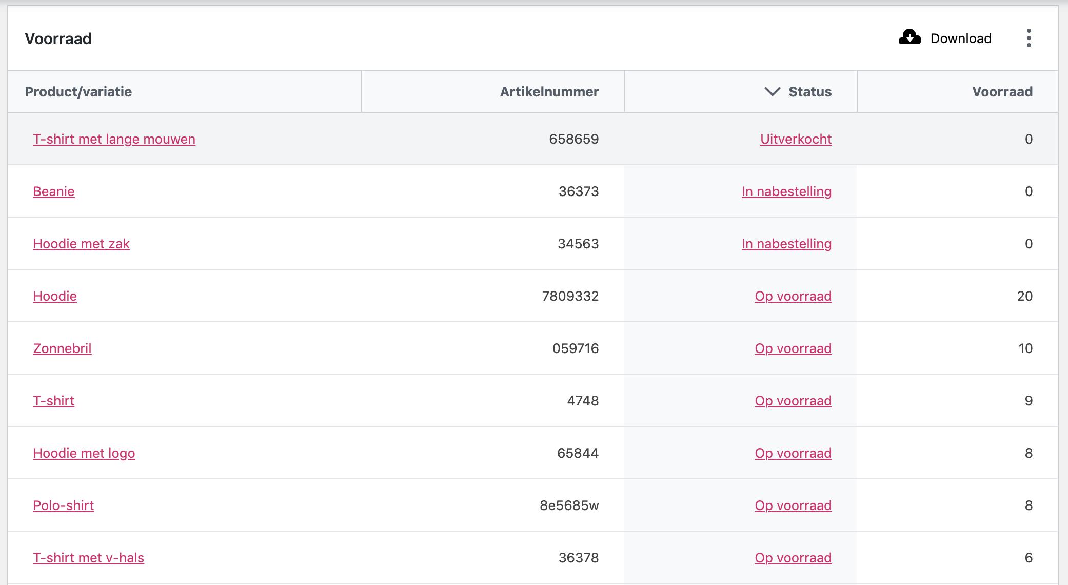 Voorraadoverzicht van producten in je WooCommerce-webshop.