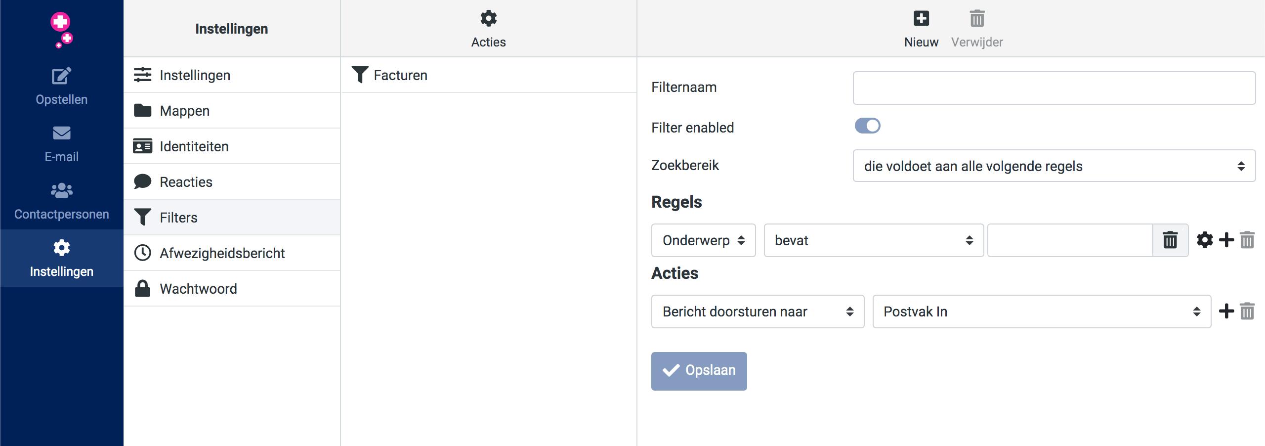 Mailfilters beheren in de webmail van Antagonist.