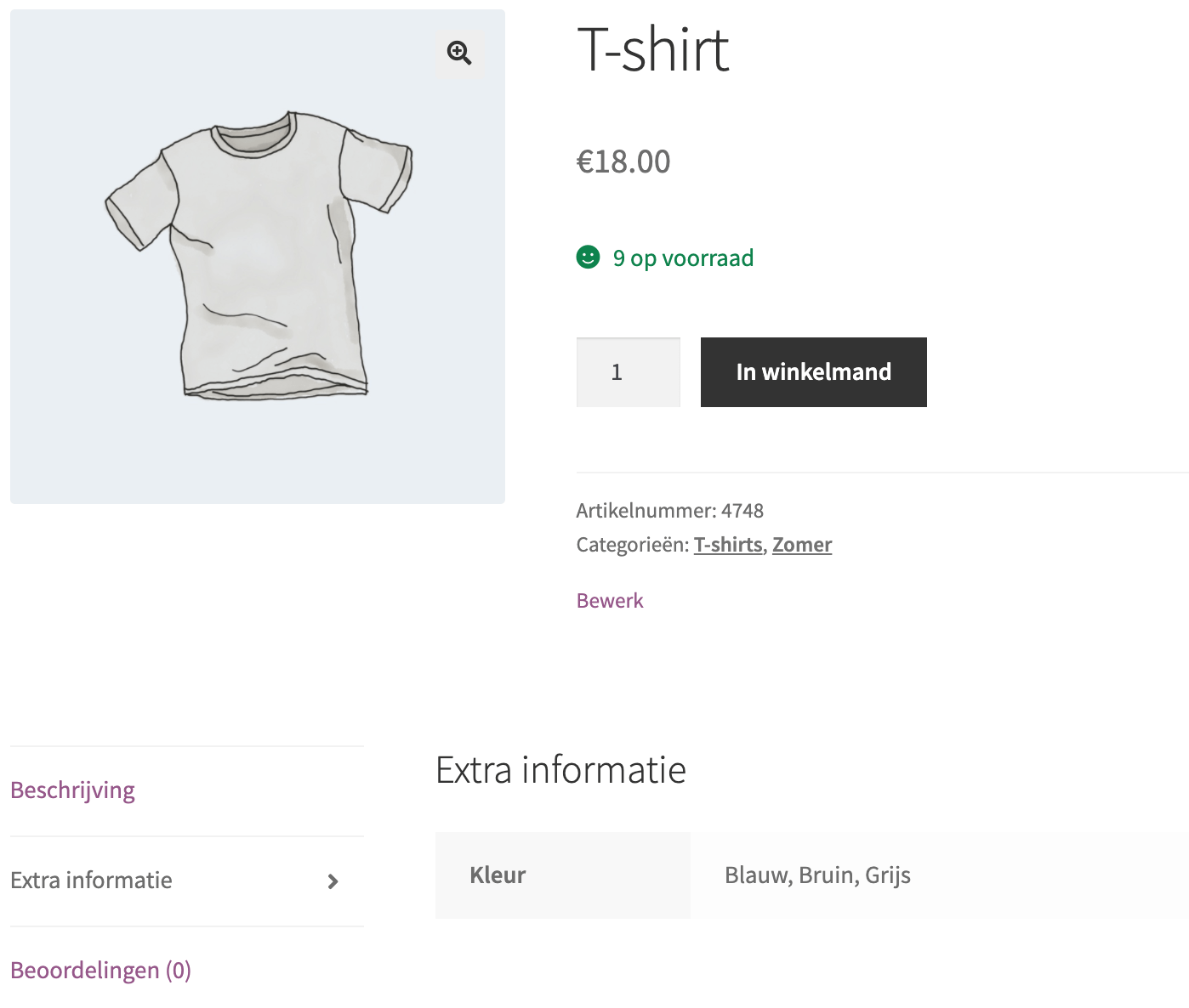 Extra productinformatie in WooCommerce.