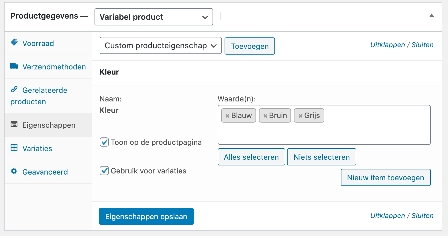 Een variabel product beheren in WooCommerce.