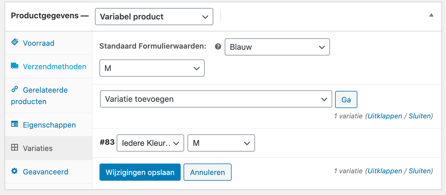 Kleur- en maatvariaties in WooCommerce.