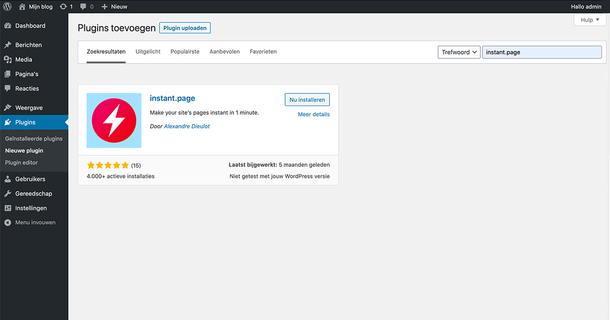 In WordPress instant.page als plugin installeren.