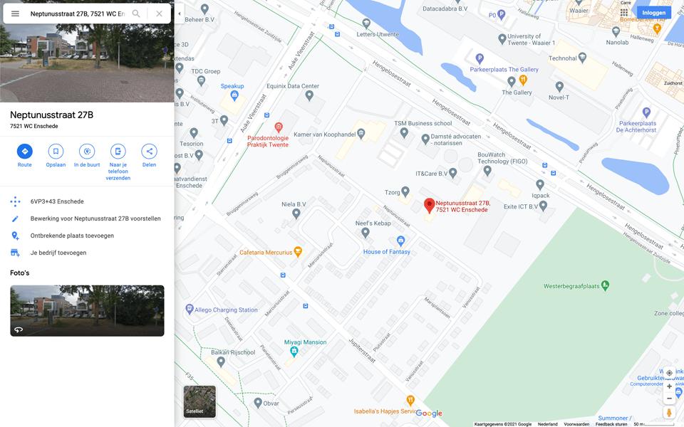 Zoek je adres op in Google Maps.