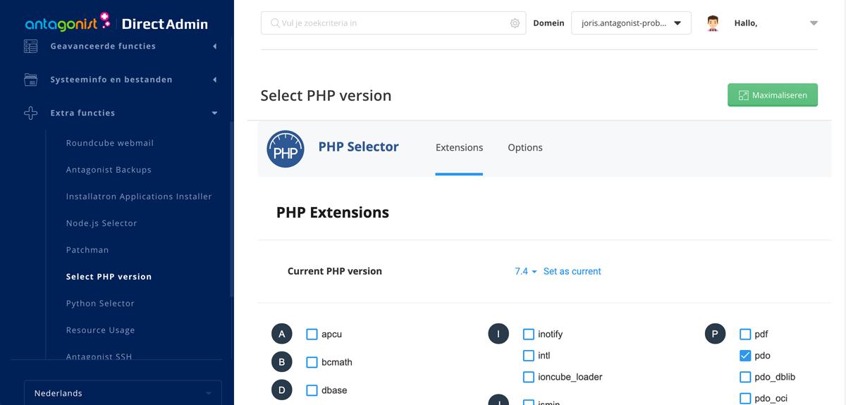 PHP-versie ophogen in DirectAdmin.