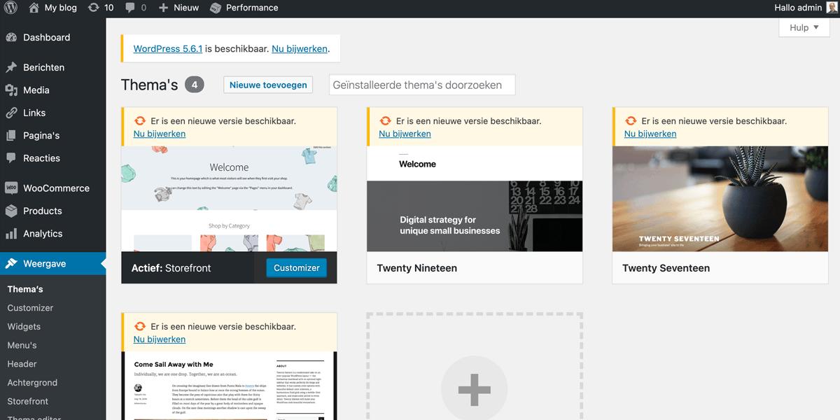 Thema's updaten in WordPress.