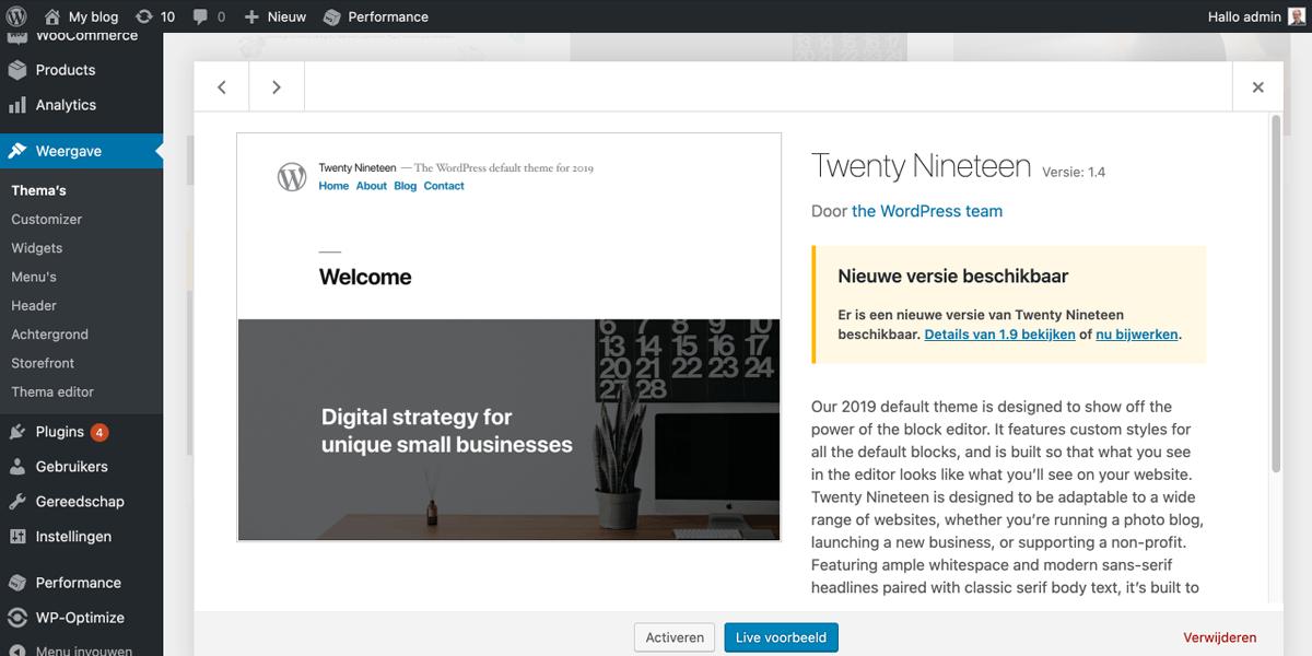 Een thema verwijderen in WordPress.
