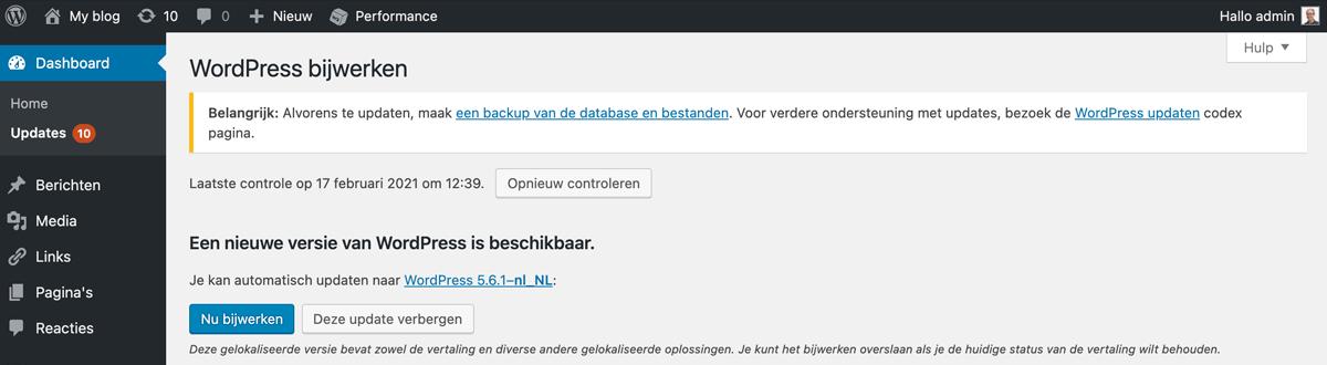 Het updaten van WordPress.