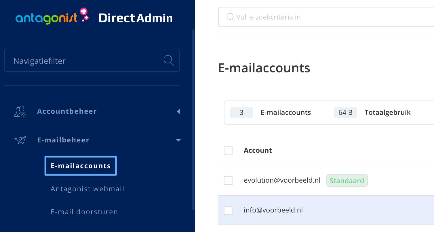 E-mailaccounts in DirectAdmin.