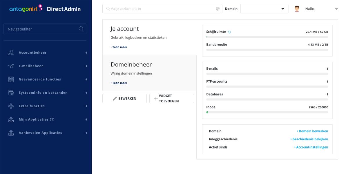 Ingelogd op je hostingpakket in DirectAdmin.