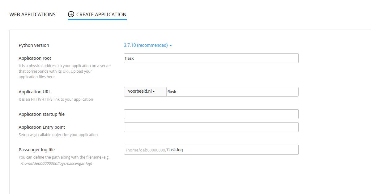 Maak een nieuwe applicatie aan in Python-selector.