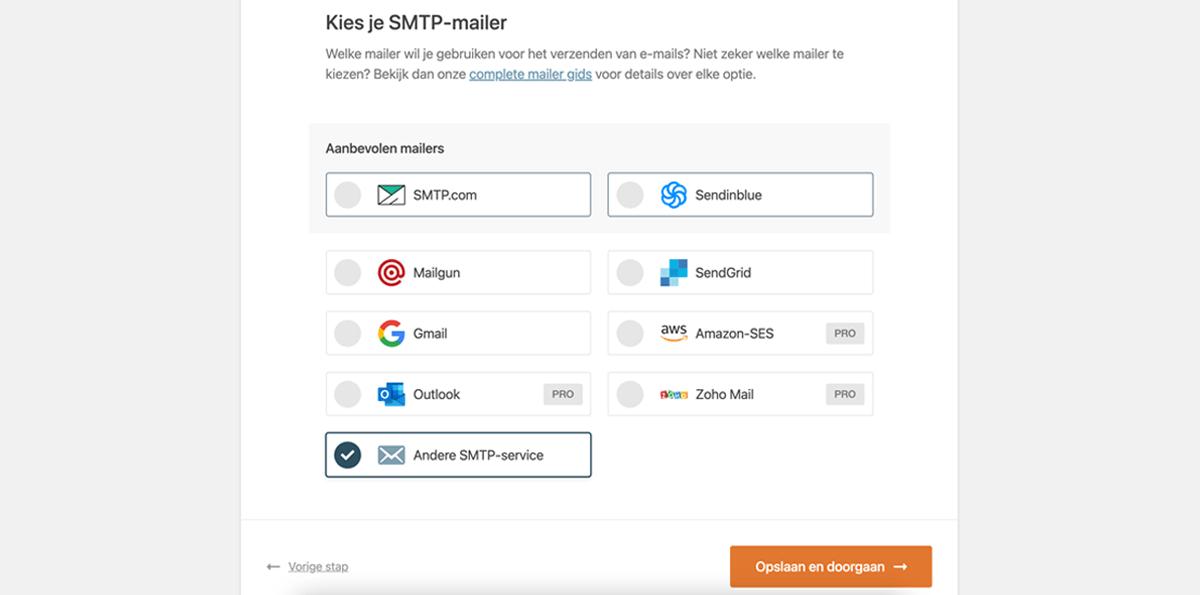 Kies je SMTP-mailer binnen de plugin.