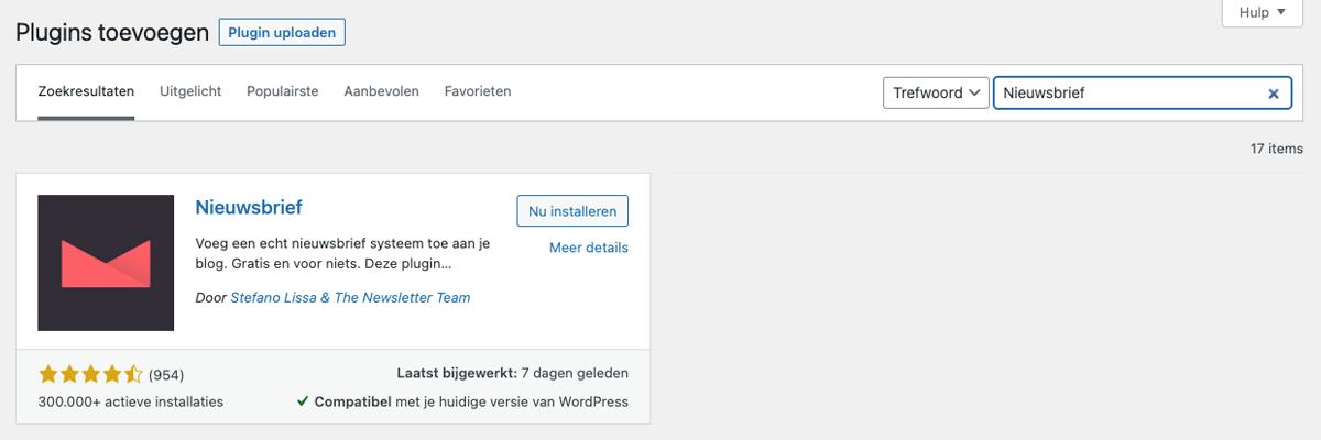 Installeer de plugin Nieuwsbrief binnen WordPress.