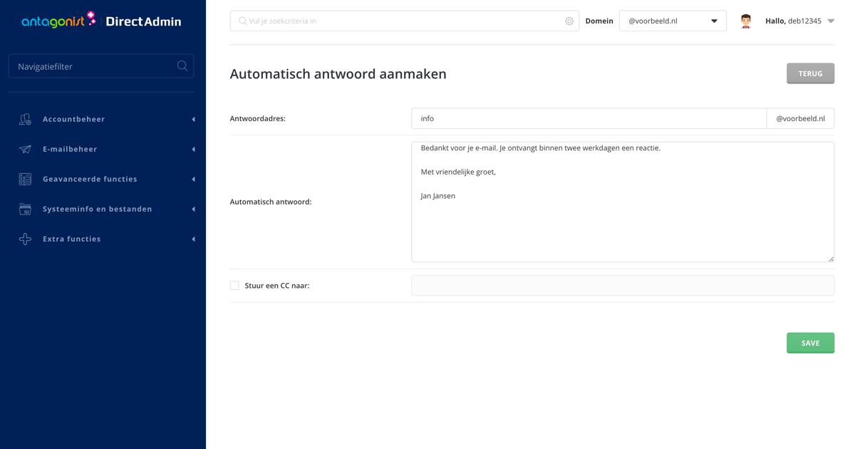 Automatische antwoorden aanmaken in DirectAdmin.