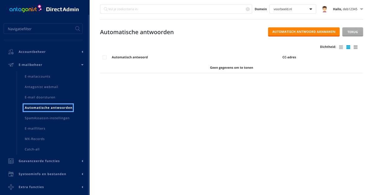 Automatische antwoorden in DirectAdmin.