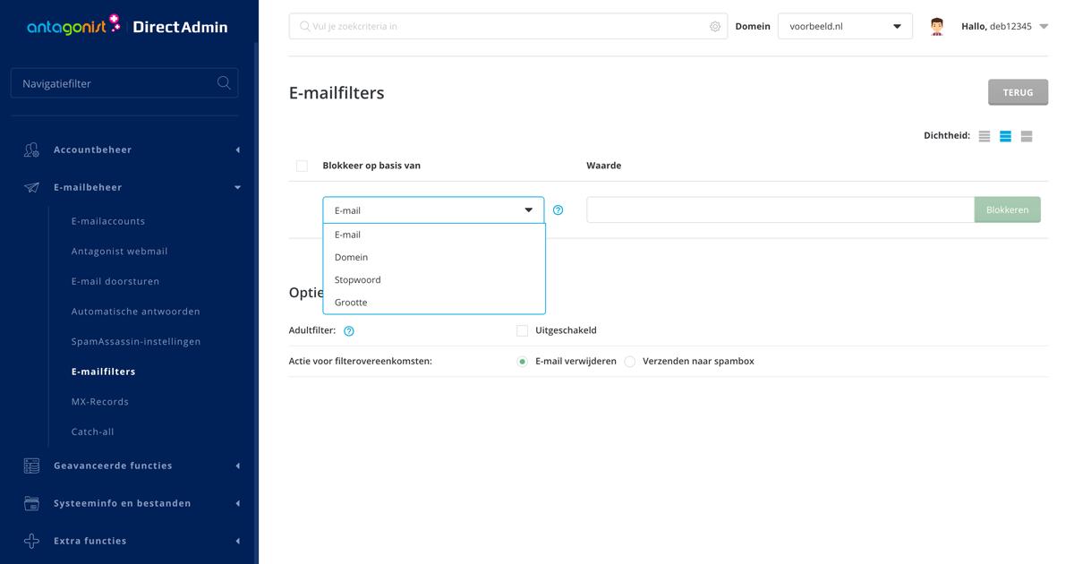 E-mailfilters instellen in DirectAdmin.