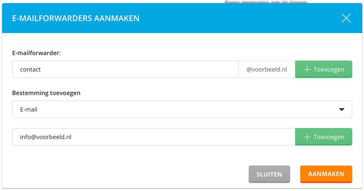 E-mailforwarder aanmaken in DirectAdmin.