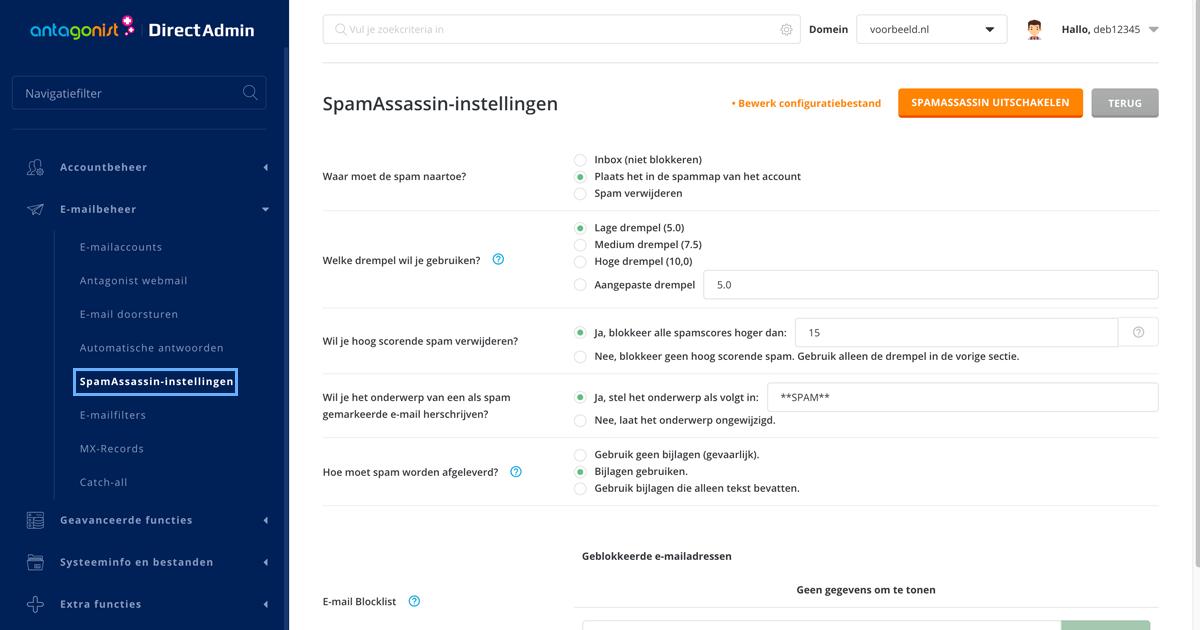 SpamAssassin-instellingen in DirectAdmin.