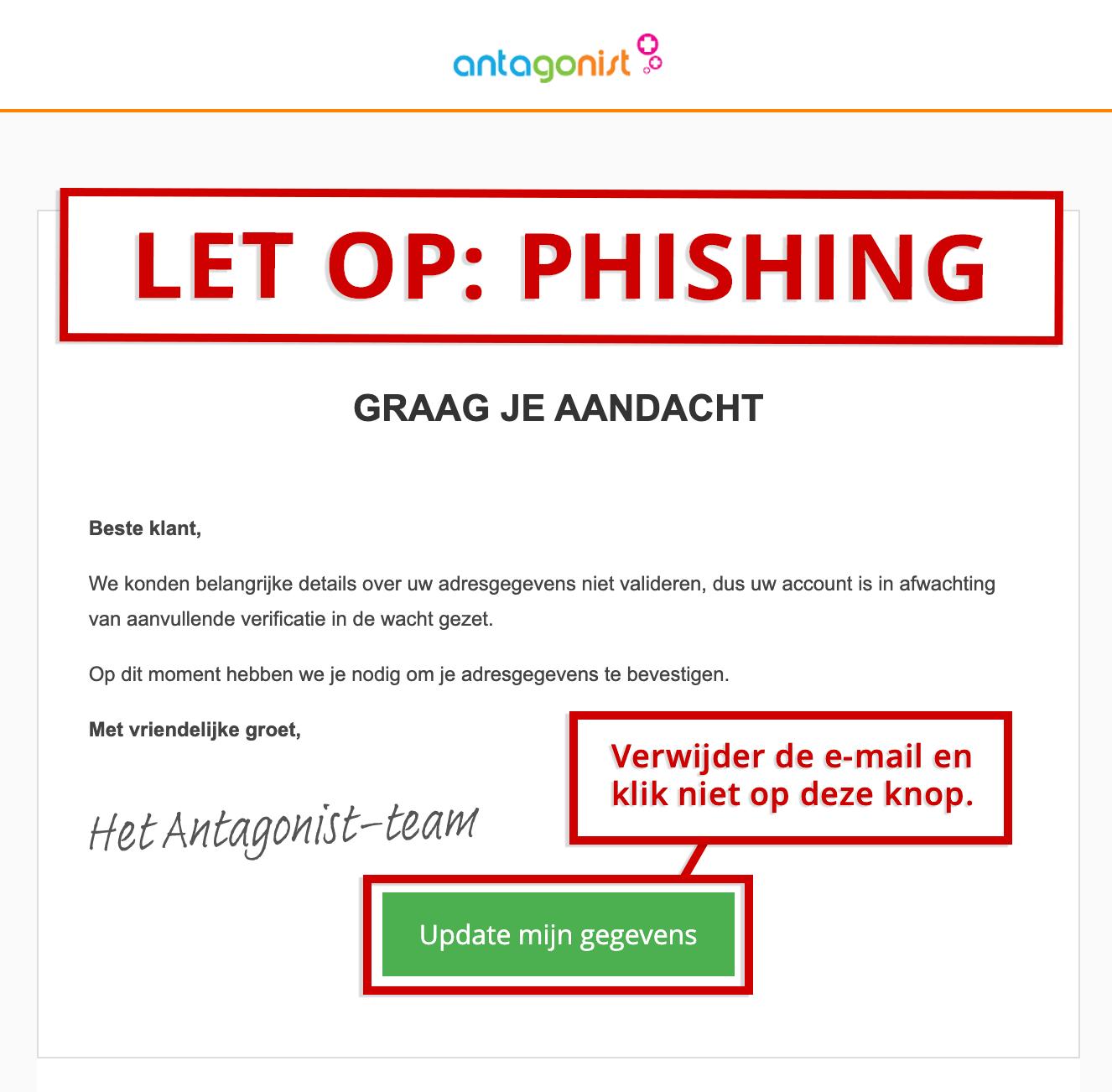 Voorbeeld van een phishingmail.