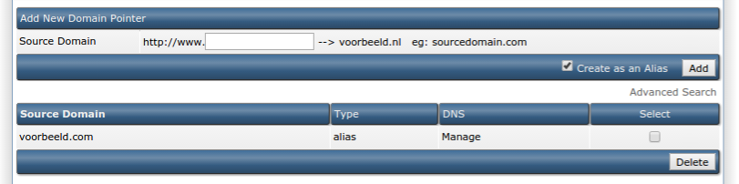 Via 'Manage' pas je de DNS-records van een alias/pointer aan.