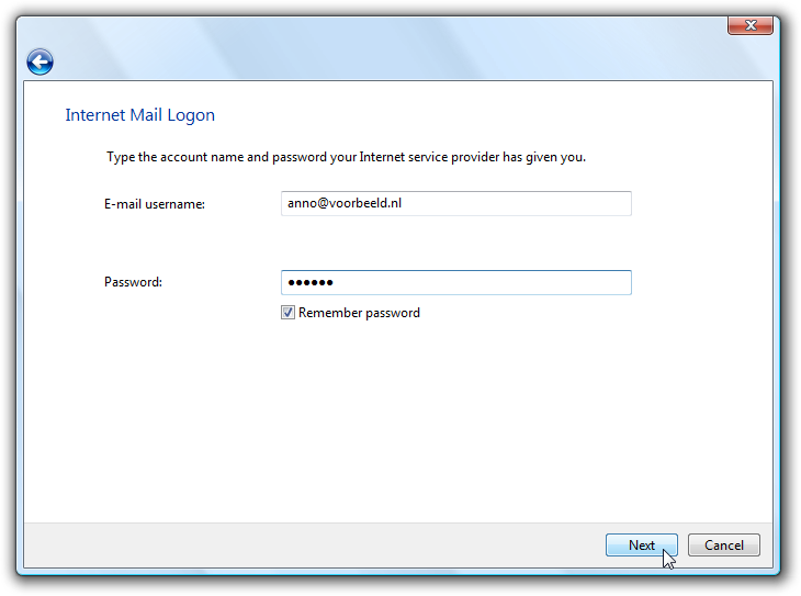 Het invoeren van je e-mailaccount in Windows Mail.