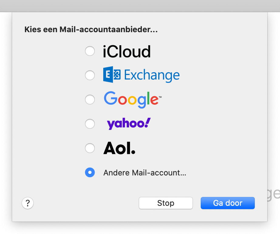 Kies voor 'Andere Mail-account...' in Apple Mail.