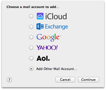 Kies voor de optie 'Add Other Mail Account…'.