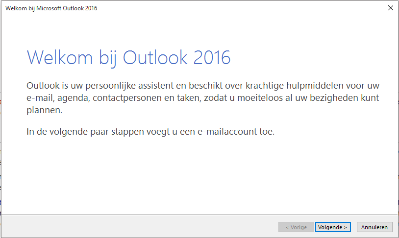 De wizard in Outlook 2016.