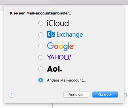 Kies voor 'Andere mail account...' in Apple Mail.