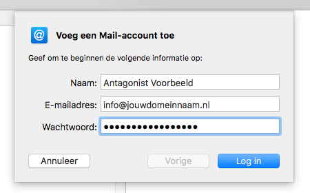Vul je e-mailadres in Apple Mail in.