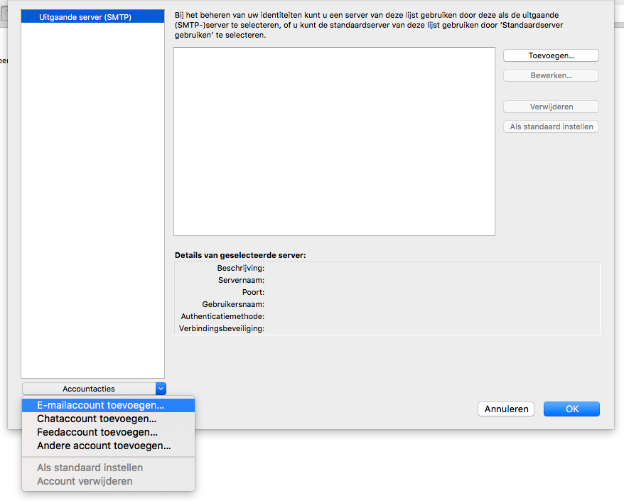 Onderin bij Accountacties ('Account Actions') klik je op 'E-mailaccount toevoegen' ('Add Mail Account').