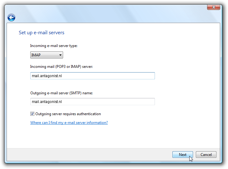 De mailservers invoeren in Windows Mail.