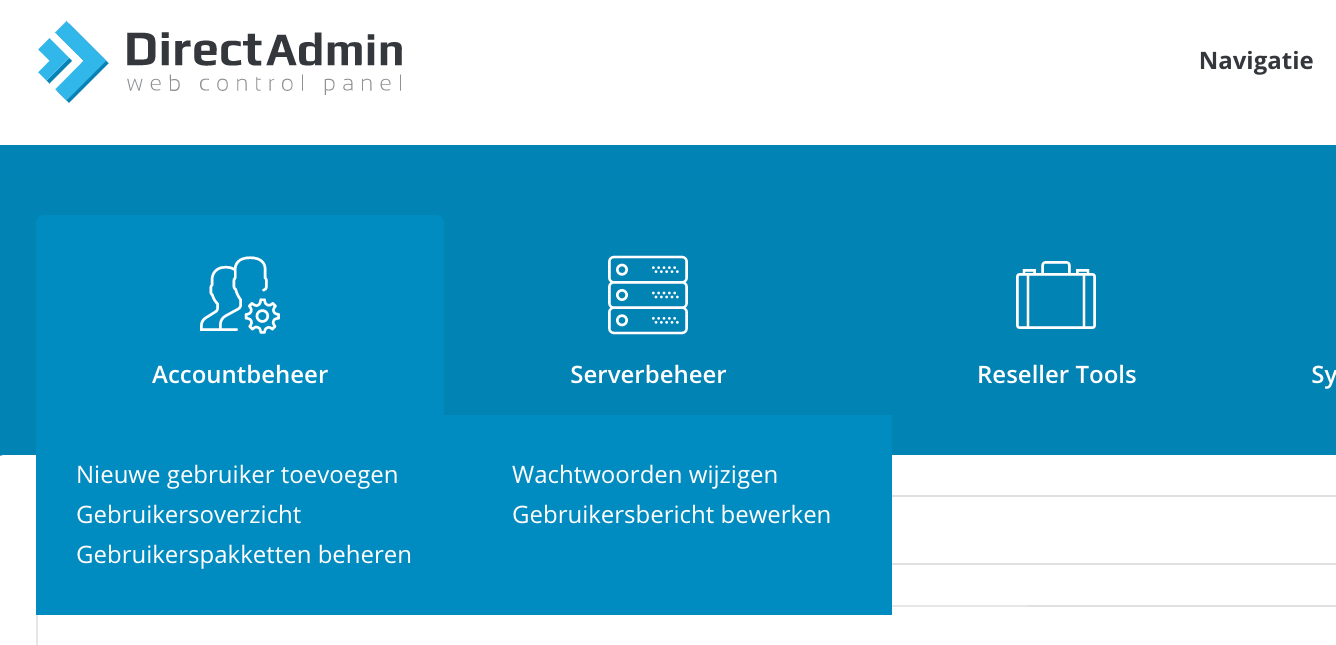 Reseller accountbeheer in DirectAdmin.