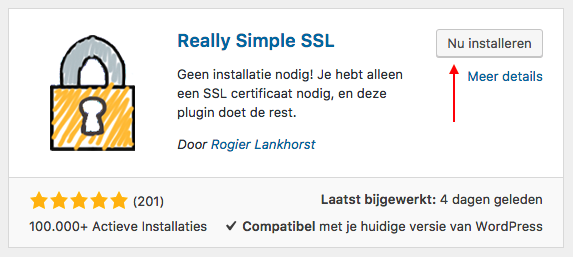 Het installeren van Really Simple SSL in WordPress.