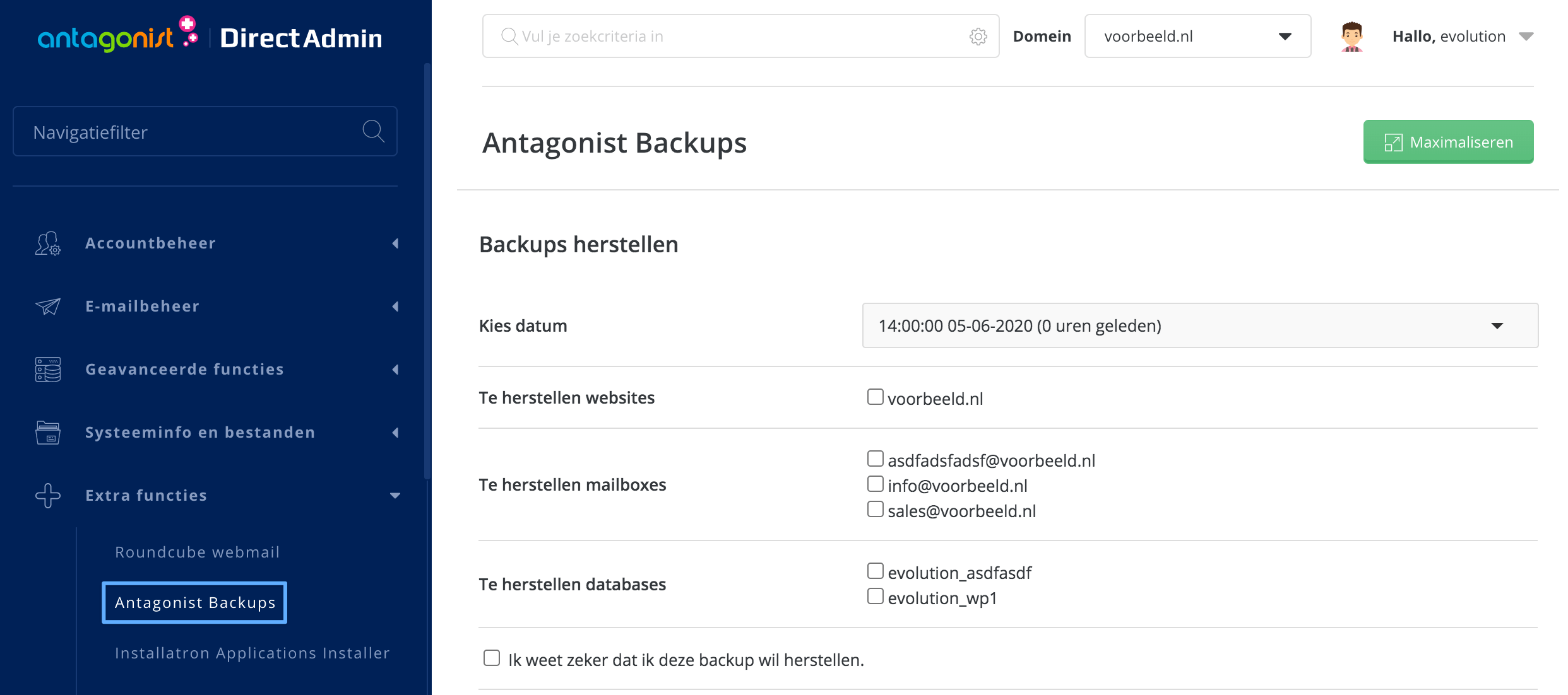 De optie 'Antagonist Backups' in DirectAdmin.