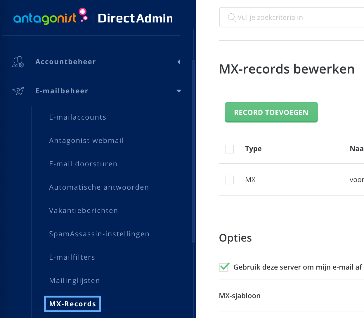 MX-records beheren in DirectAdmin.