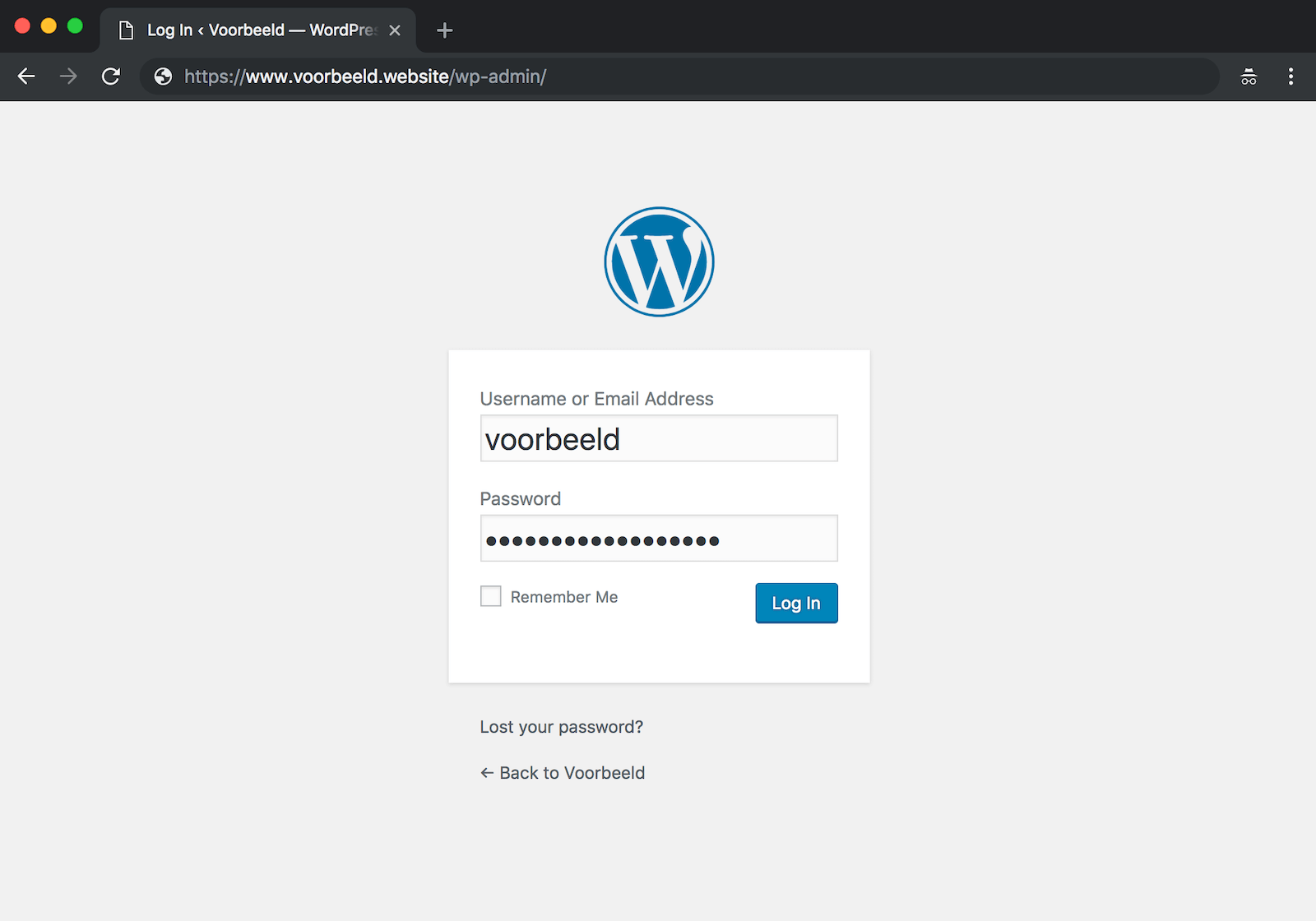 Log in op de backend van je WordPress-installatie.