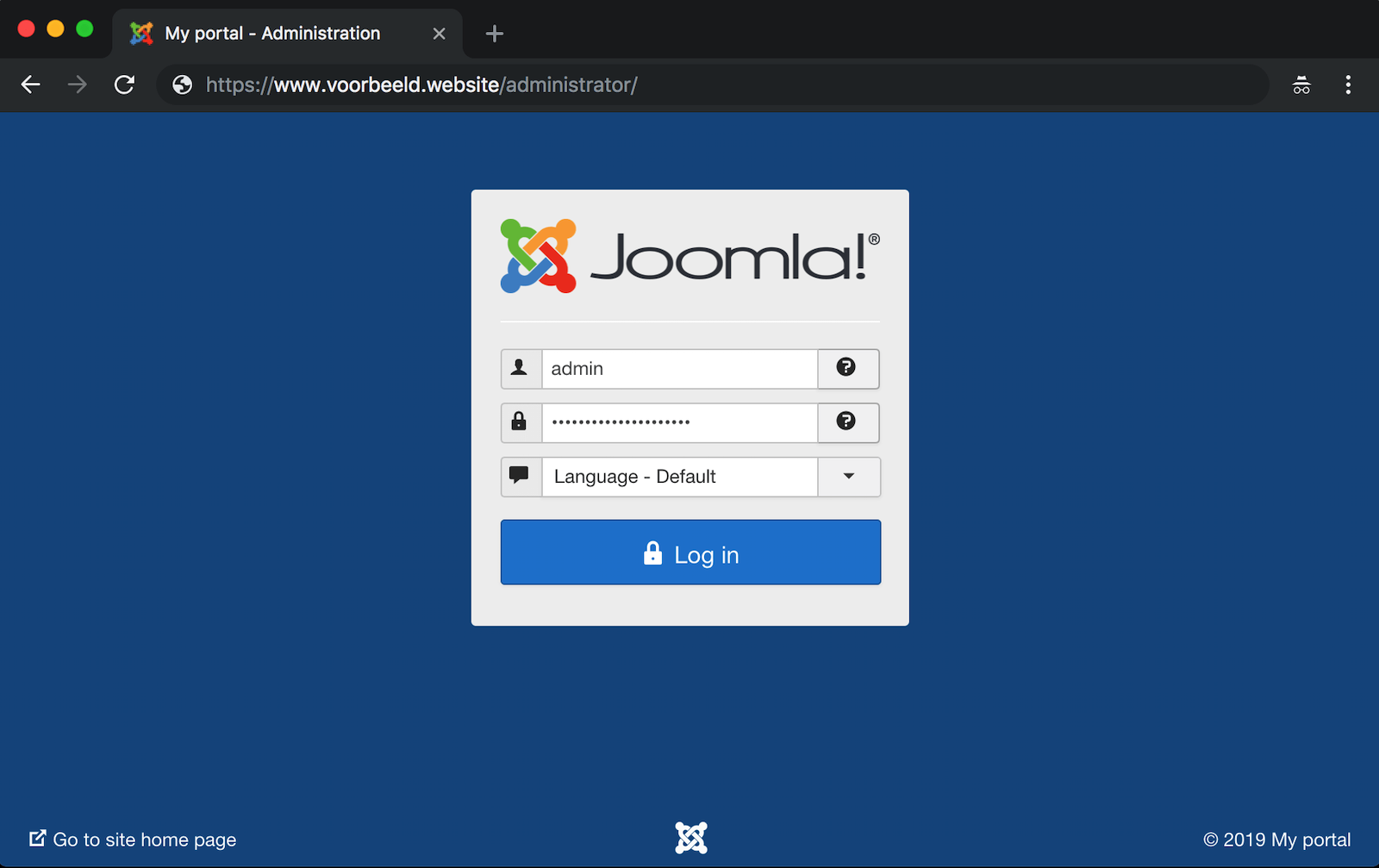 Log in op de backend van je Joomla-installatie.