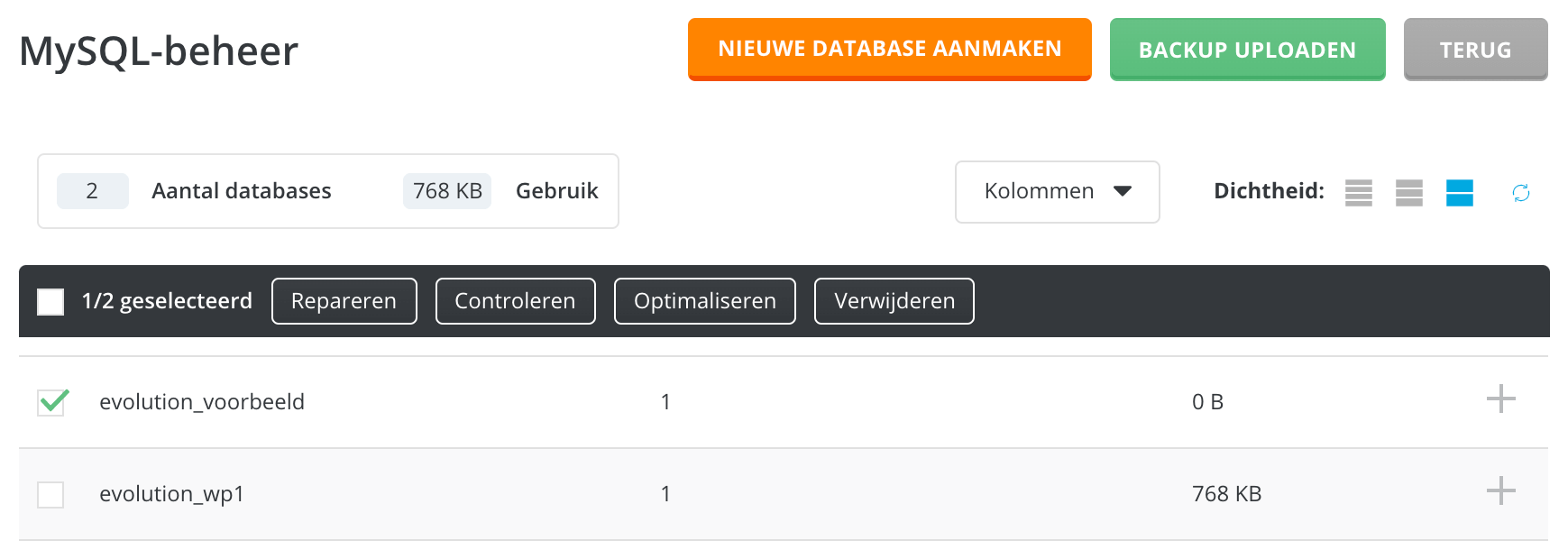 Het repareren en optimaliseren van een database.