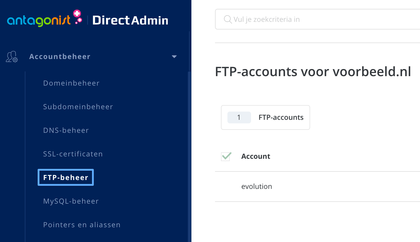 FTP-accounts beheren in DirectAdmin.