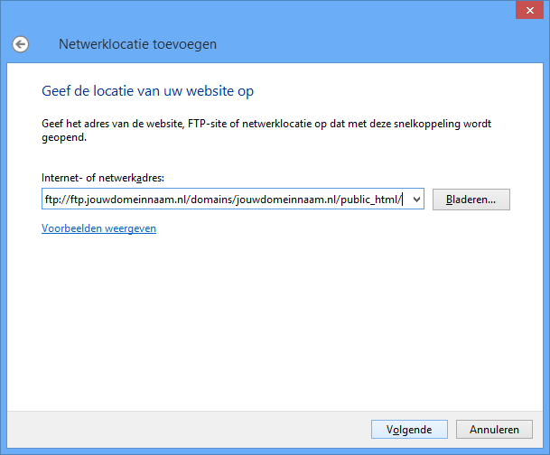Vul onder 'Internet- of netwerkadres' ('Internet or network address') in: ftp://ftp.jouwdomeinnaam.nl/.
