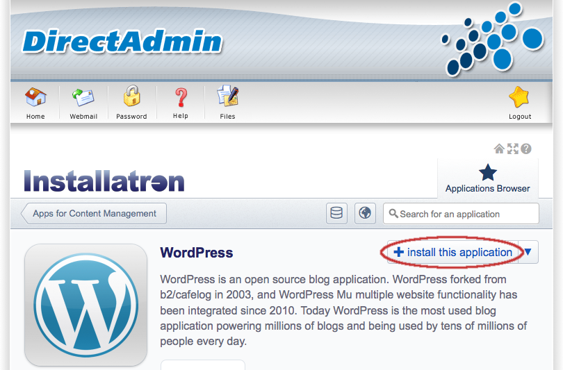 WordPress: Applicatie installeren