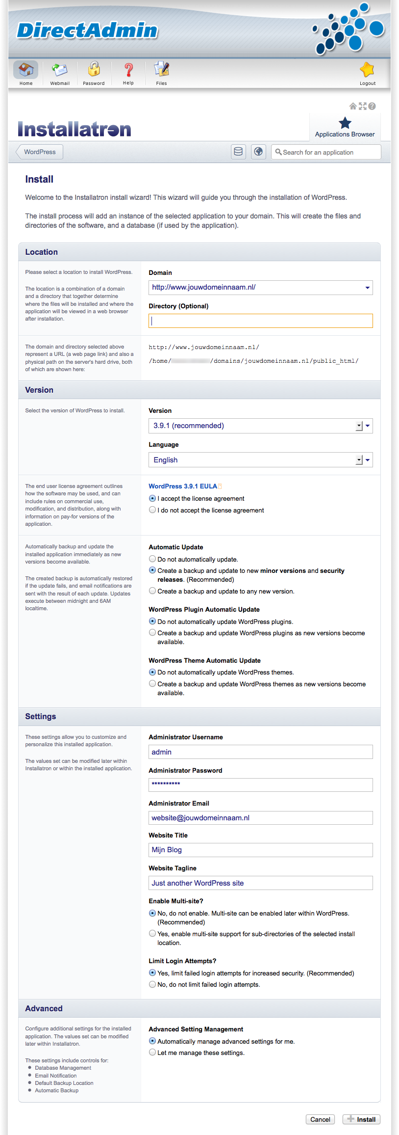 WordPress: Settings opgeven